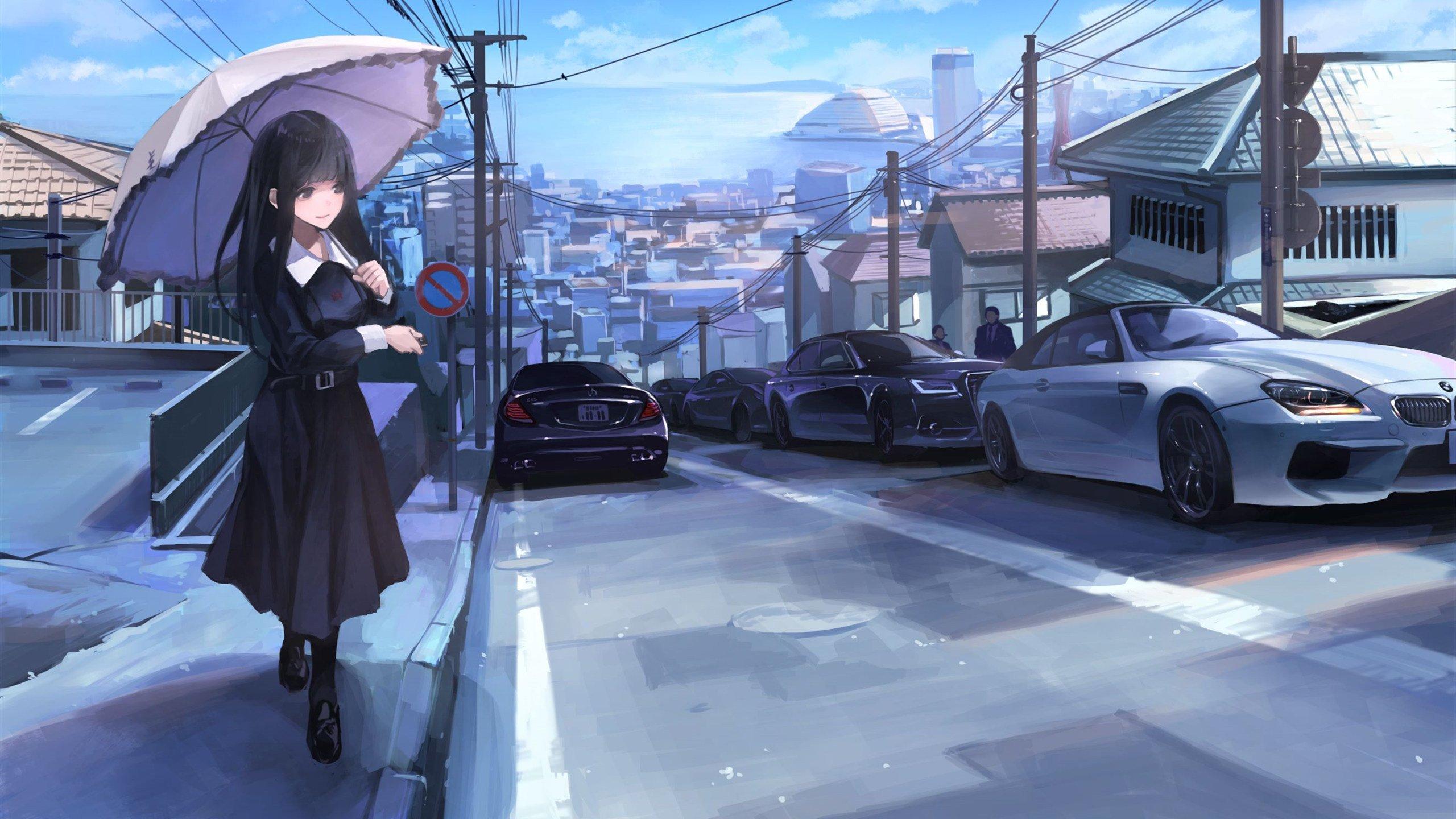 女孩 打伞 遮阳伞 城市 汽车 黑裙女孩唯美动漫壁纸,高清动漫电脑桌面壁纸插图