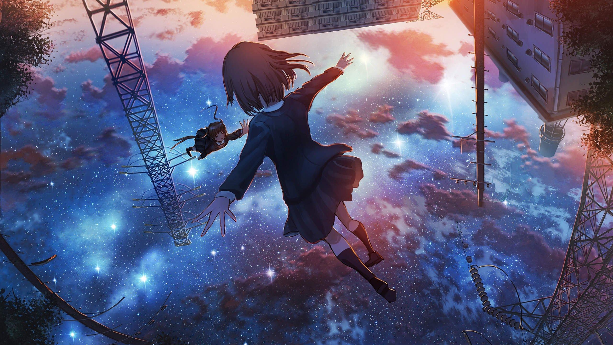 太空 少女 重力 颠倒 星空 唯美动漫壁纸,高清电脑动漫壁纸