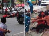 男子疑妻出轨 当街砍杀妻子同事