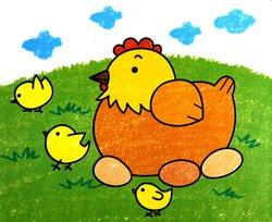 超萌卡通小鸡简笔画《《母鸡和小鸡简笔画《《母鸡孵