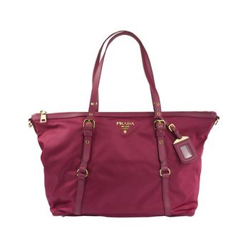 prada 普拉达 玫红色尼龙手提袋
