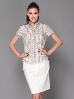 女款纯棉翻领短袖衬衫