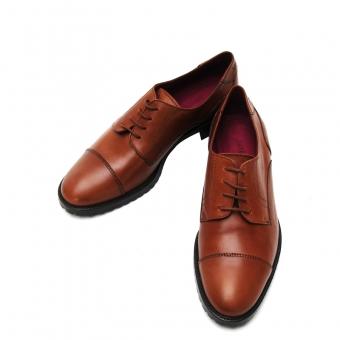 浅棕色牛皮系带女士皮鞋