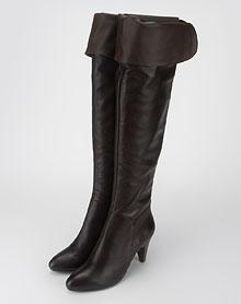 FBL 女款深啡色牛皮高跟过膝长靴 - 女士靴子\/