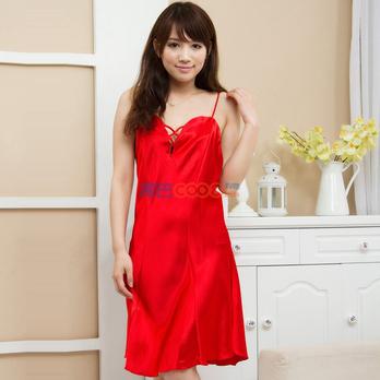韩版蕾丝冰丝可爱女士睡衣性感吊带睡裙 古装真丝睡裙美女