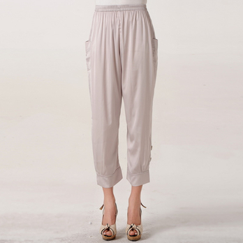 比尔丝 2013夏季女中老年裤子纯色妈妈装裤子 12丝绸裤