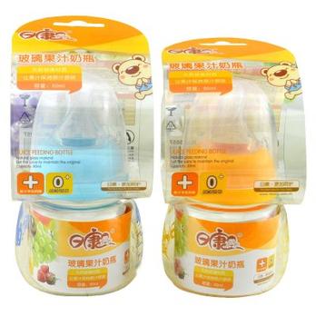 日康婴儿用品标口宝宝玻璃果汁奶瓶80ml RK3