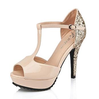 女鞋亮片防水台高跟鞋漆皮时尚鱼嘴细跟凉鞋132