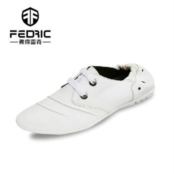 白色皮鞋子懒人鞋