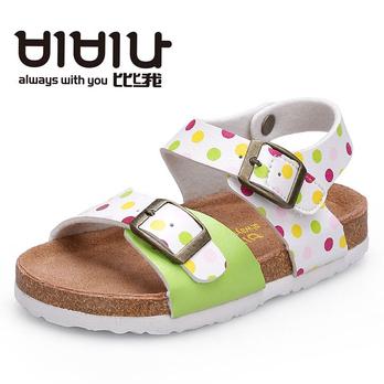 韩国比比我正品儿童凉鞋女童鞋软木底糖果色小童中童