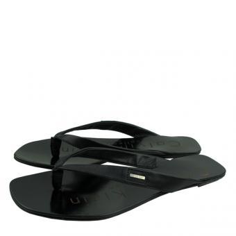 黑色牛皮革女士夹板凉鞋