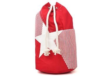 时尚竖条纹玛瑙红抽绳双肩背包