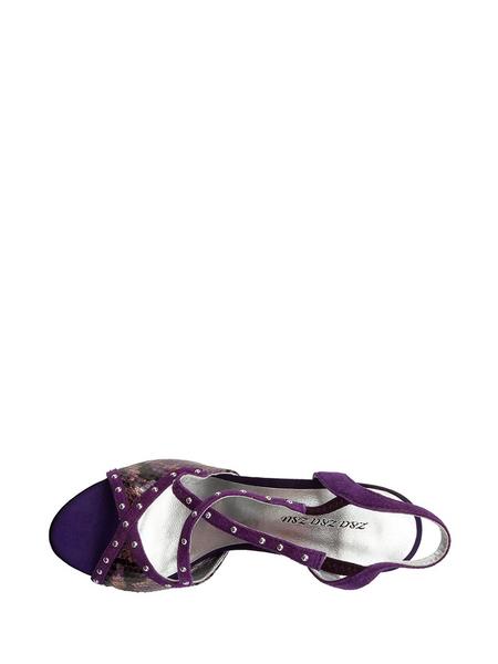 苏紫铜色/雅紫色铆钉牛皮细跟松紧带女士露趾凉鞋