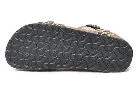 豹纹扣带超纤革软木底搭扣休闲沙滩凉鞋