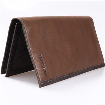 宾尼亚banlear复古男士两折软牛皮长款钱包b77008-1