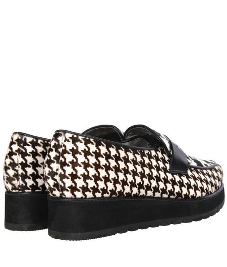 belvio女士黑白马毛时尚松糕鞋