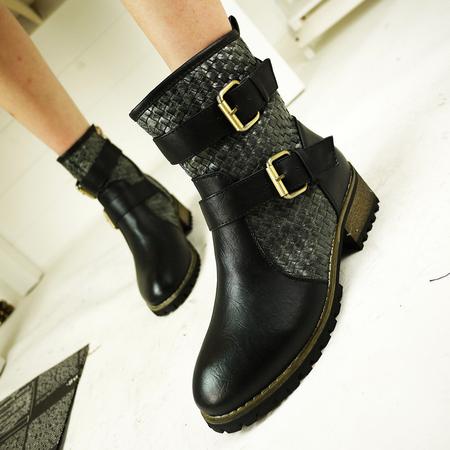 欧美春秋季平跟平底靴短靴英伦低跟马丁靴靴子