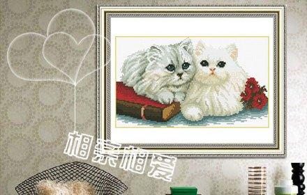唐姨十字绣 两只小猫 相亲相爱
