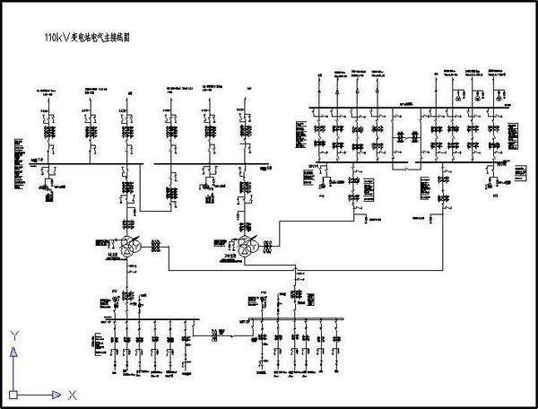 (单母线分段接线) 变压器:为两台三相三绕组变压器.