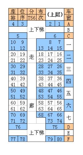 t56 t55双层火车的座位安排图