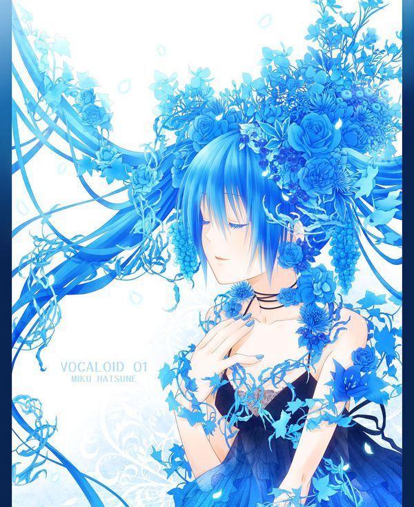 背景是蓝色蔷薇花的动漫少女图片
