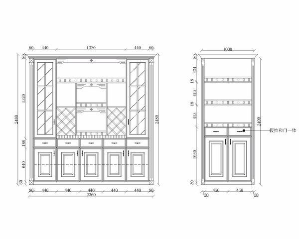 画出模板的cad三视图_360v模板cad衣柜卡工艺图片