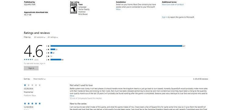 《最终幻想15》Xbox One版商城页面