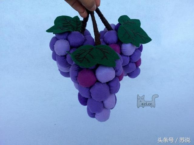 幼儿园亲子创意手工教程,带图纸,超逼真布艺葡萄,装饰