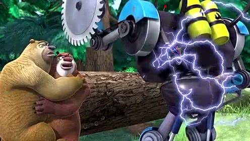 熊出没之冬日乐翻天:强哥瞄准机器人的电线,直接一枪崩了它