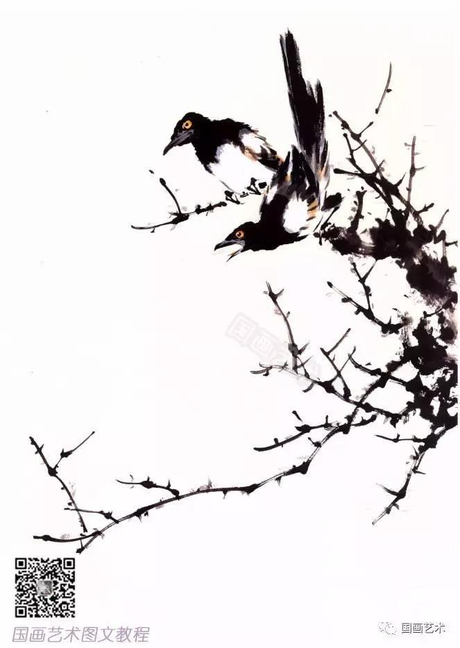 教程| 写意禽鸟之喜鹊的画法解析