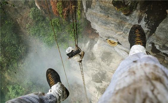 57岁尼泊尔男子爬150米悬崖放烟采蜜