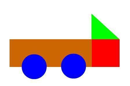 长方形,正方形,圆形,三角型怎么拼成小汽车