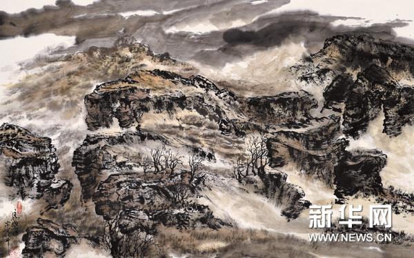 """""""记者画家""""捕捉太行魂灵--马乐靠山系列写意山水画展亮相北京图片"""