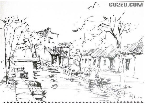 江南小镇的古装手绘图片