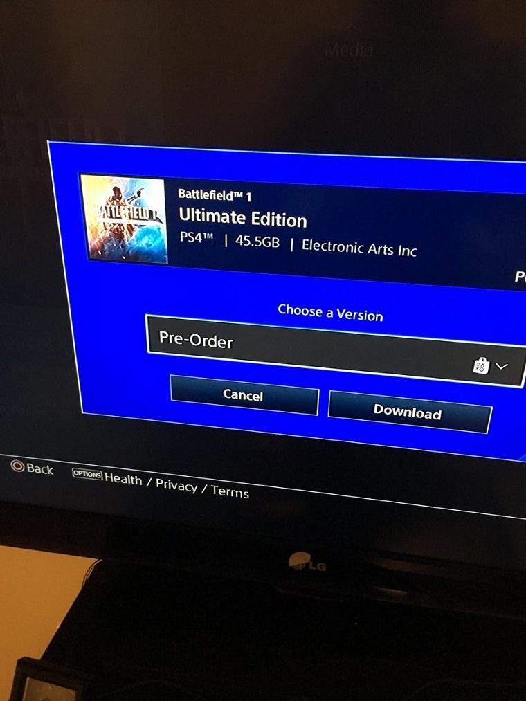《战地1》PS4容量截图
