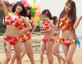 中国版akb48女团 穿比基尼沙滩性感热舞