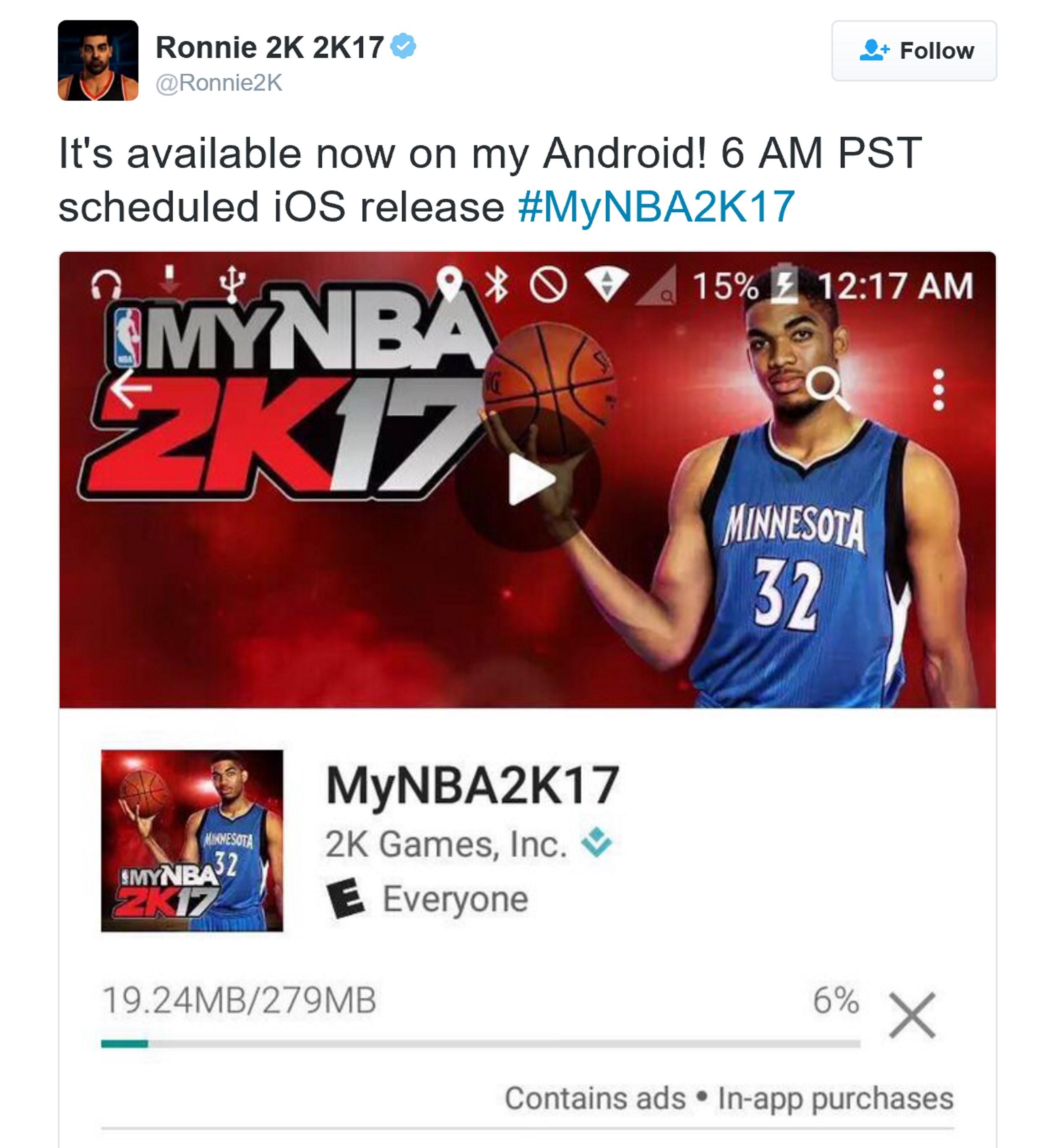 《MyNBA2K17》移动版可下载