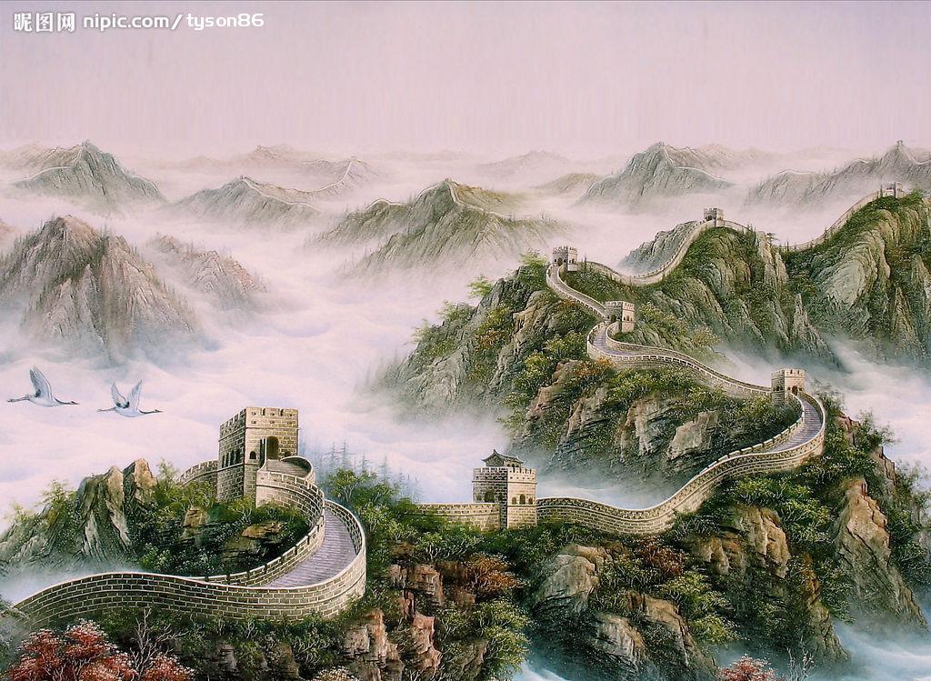 长城壁画设计图 绘画书法 文化艺术 高清图片