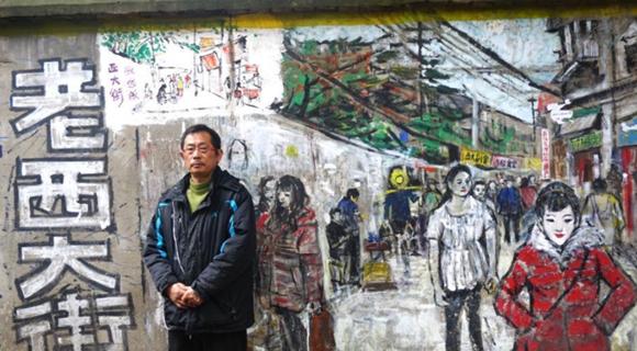 """老画家6年创作 墙绘百米武汉版""""清明上河图"""""""