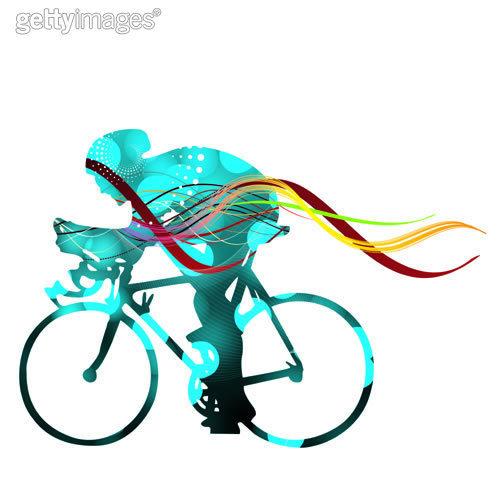 求骑车的简笔画,要有色的