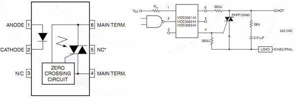 电路设计,双向可控硅触发电路,moc3063,moc3061,moc304.