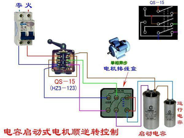 单相电动机利用倒顺开关接正反转,求原理求图纸!