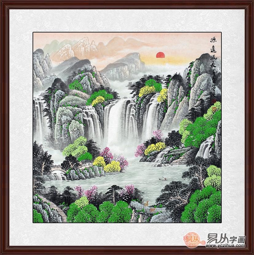 餐厅装饰画可以选用淡雅的山水画,中国传统的国画山水画淡雅,清静