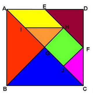 如图是标准的七巧板图形.其中的E、F、G、H、I、J皆为各所在线段