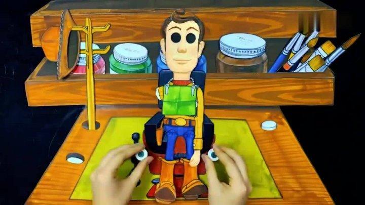 手绘定格动画,纸板上的玩具<b>人偶总动员</b>,看着有趣极了!