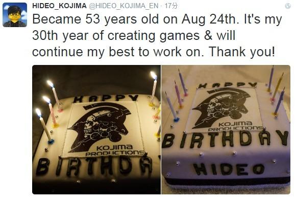 小岛秀夫迎来53岁生日