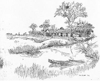 池塘剖面图手绘