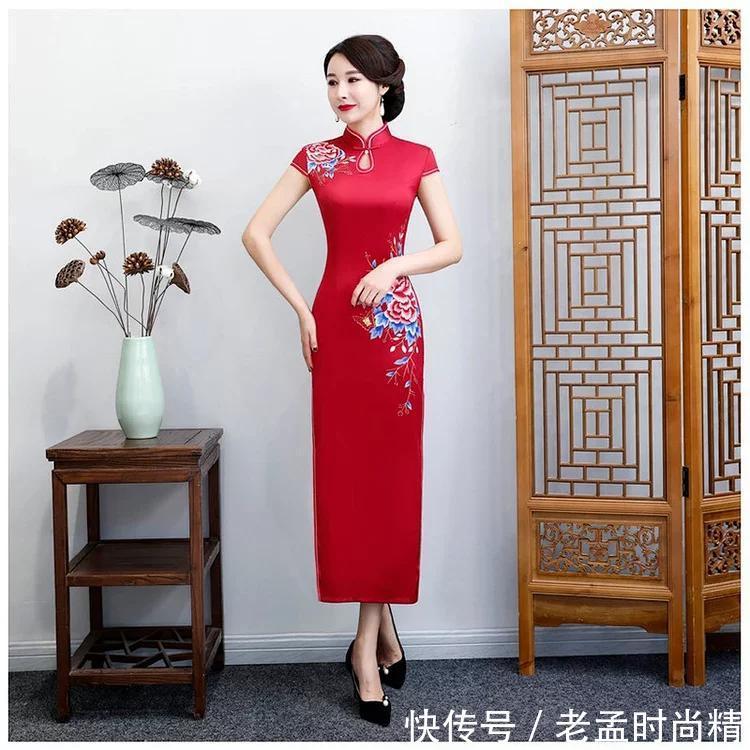 水滴领, 一字扣, 时尚长款旗袍惊艳中国美!