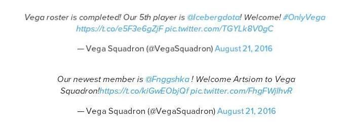 Vega秋季赛名单顺利敲定