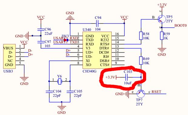 谁能给我解释下普中科技stm32zet6开发板上一键下载电路中红色圆圈